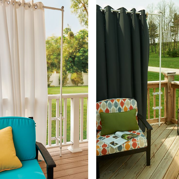 Railing Curtain Rod And 2 Posts Outdoor Curtains Deck