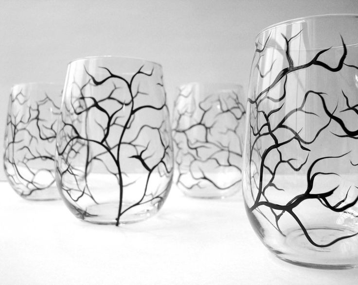 Winter Tree Branch Stemless Wine Glasses. Hand Painted. Available from MaryElizabethArts.com