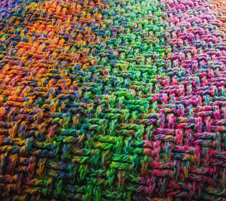Crochet Scrap Yarn Blanket - idea to use leftover yarn @ Keeping It Stepford. An explanation for the basketweave stitch see: http://pinterest.com/pin/184858759676928316/  OR here: http://newstitchaday.com/how-to-crochet-the-basketweave-stitch/