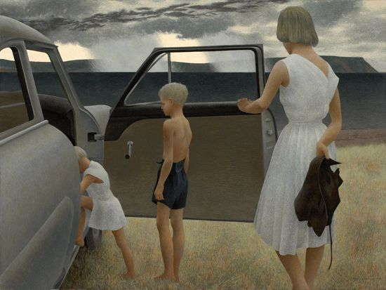 family and rainstorm 1955 by Alex Colville