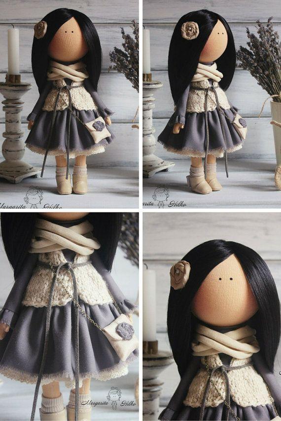 Soft doll handmade brunette dark grey Home doll Decor doll Art