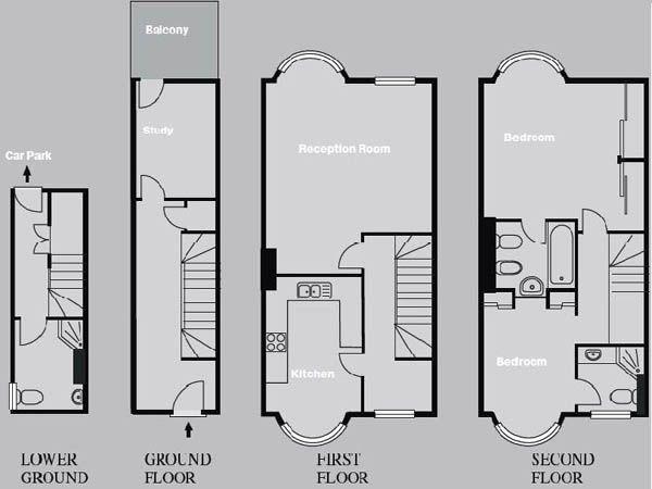 London 2 bedroom triplex townhouse apartment for Apartment townhouse plans