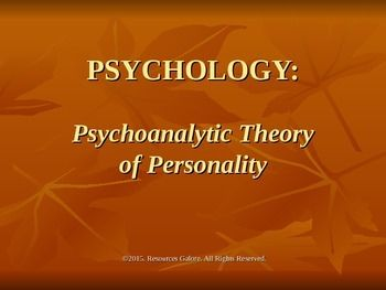 This resource explains Freud's Psychoanalytic Theory of Personality, covering all its four major aspects:1. Structure of the mind2. Levels of Conscious3. Stages of Psychosexual development4. Defense MechanismsThe power-point slides are to the point, clear and effective, making it easy for teachers to explain the theory methodically!Check out more quality, ready-to-use resources:More from Resources GaloreFollow me on:PinterestThank you for visiting my ...