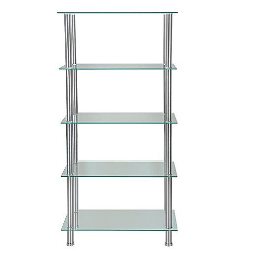 5 Tier Glass Shelf Unit Display Table Storage with Chrome Legs (Clear)