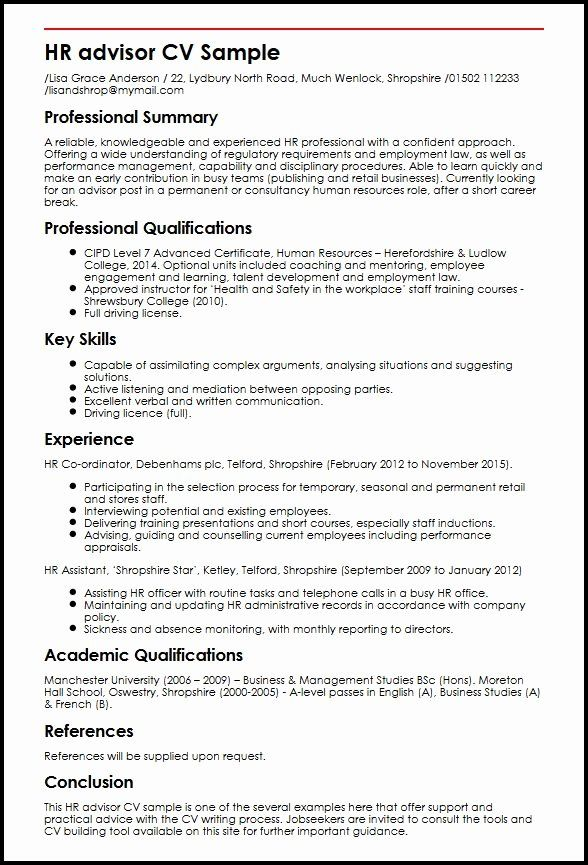 Human Resources Manager Resume Summary Awesome Hr Advisor Cv Sample Sample Resume Human Resources Resume Professional Resume Samples