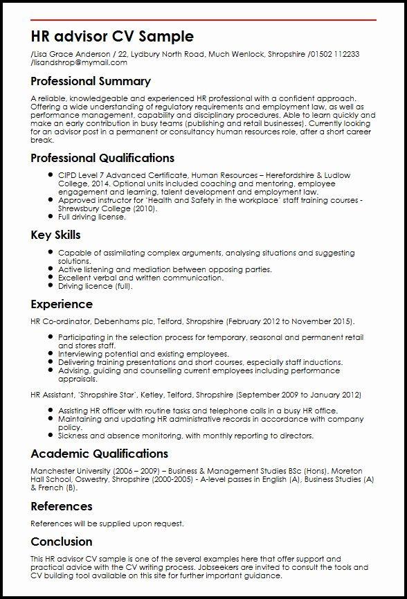 Hr Assistant Job Description Resume New Hr Advisor Cv Sample In 2020 Human Resources Resume Sample Resume Hr Resume