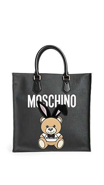 MOSCHINO BEAR WITH BUNNY EARS TOTE. #moschino #bags #leather #hand bags #tote #