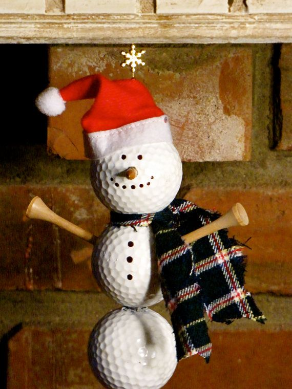 Christmas Golfer! Hey, I found this really awesome Etsy listing at https://www.etsy.com/listing/165212155/golf-ball-snowman-ornament-christmas