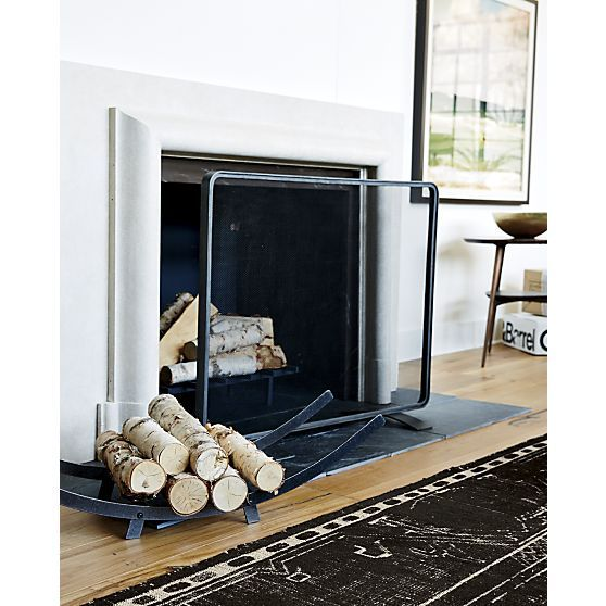 Like this minimalist screen.  Natural Steel Fireplace Screen in Home Accents   Crate and Barrel