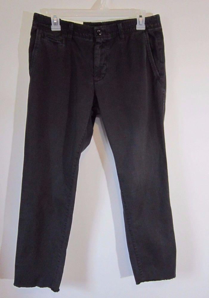 GAP Mens SIZE 30 Slim Slub Wader Cropped Pants Washed Black Frayed Raw Hem NWT #GAP #Slim