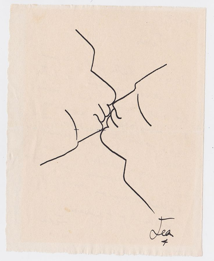Jean Cocteau (1889–1963) Mon James, il y a en lutte, c. 1951 Ink on paper 7 1/2 x 6 in . 190 x 150 mm Signed at lower right