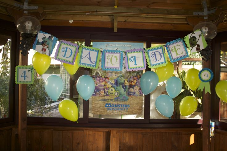 striscione buon compleanno festa Monsters University!