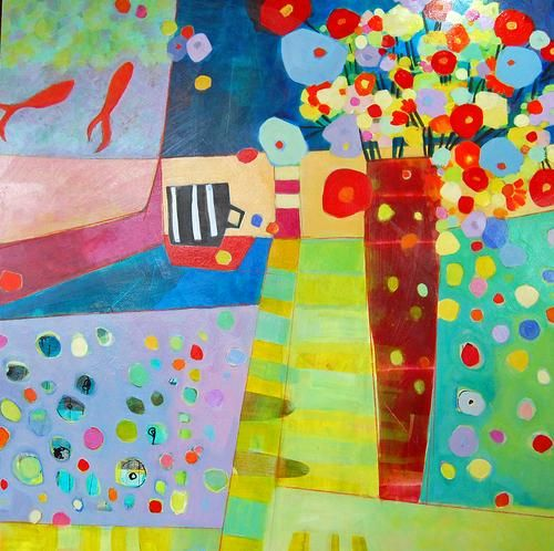 Annie O'Brien Gonzales Studio 5 30x30 acrylic on canvas