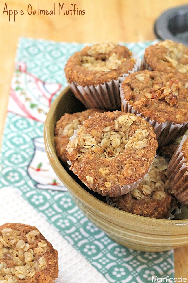 Apple Oatmeal Muffins Recipe - Mom Foodie - ingredients on hand. pretty easy. could use much less sugar.