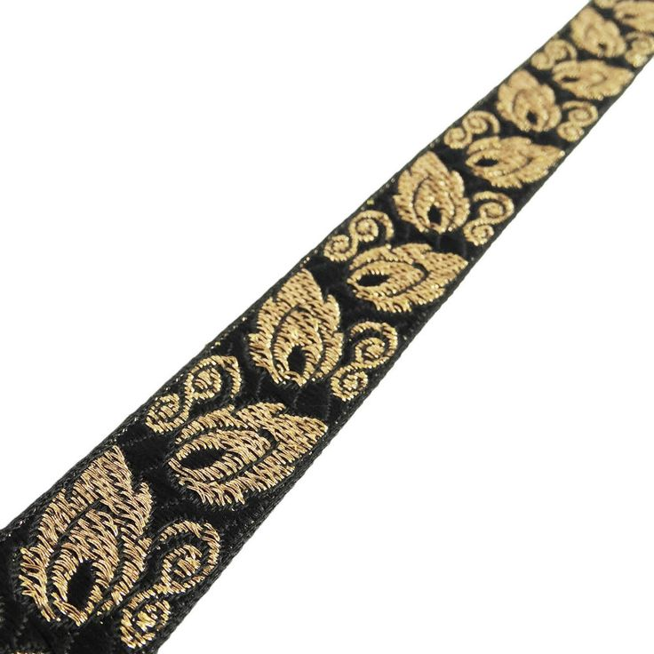 Jacquard Ribbon Black Decorative Trim 2.0 Cm Wide Border Crafting Supply By 1 Yd #Unbranded