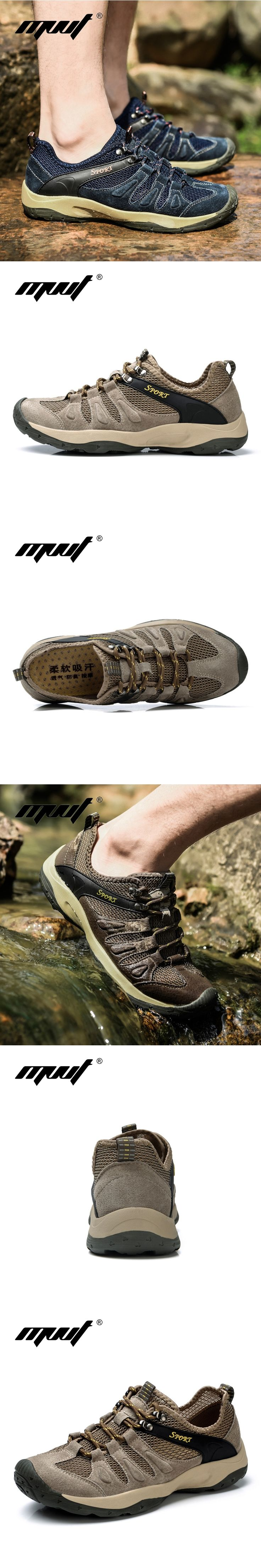Leather And Mesh Breathable Men Hiking Shoes Men's Outdoor Water Shoes Quick Drying Aqua Shoes Men Sneakers Walking Shoes