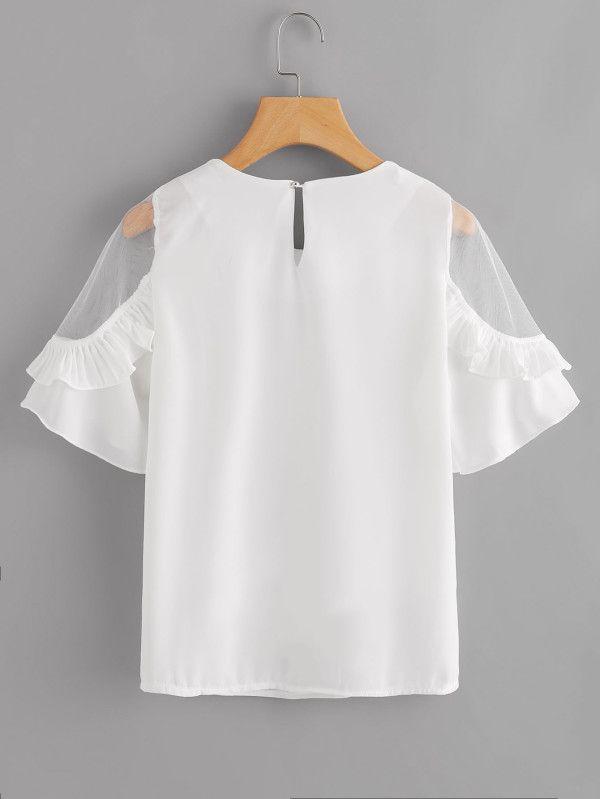 ef369294fbe Blusa de volante con malla insertada-Spanish SheIn(Sheinside) Шифоновая  Рубашка