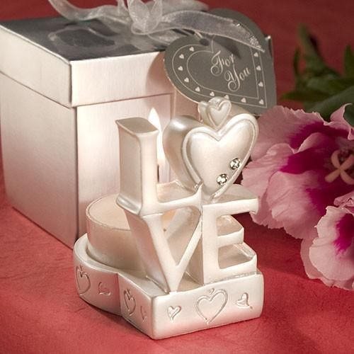 50 LOVE Design Candle Holder Favors W Box Designed With The Four Letters In Stacked A Square Heart Shaped O And Detailed Cutouts