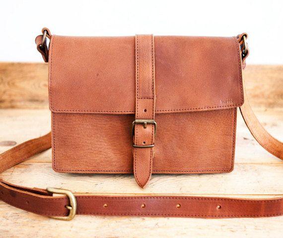 Mens leather MESSENGER BAG // Brown leather bag // by KURTIK
