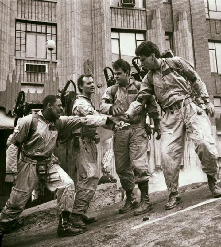 Ernie Hudson, Bill Murray, Dan Aykroyd, and Harold Ramis on the set of the original Ghostbusters, 1984