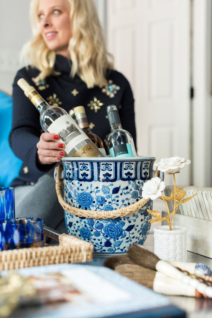 Entertaining with blue and white ginger jar champagne bucket