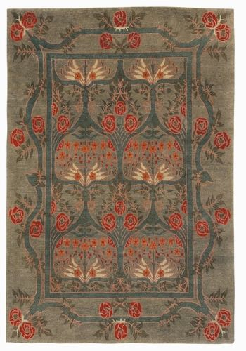 Craftsman Rambling Rose Sage Rug - The Mission Motif