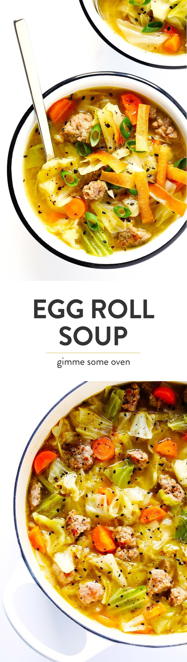 This Egg Roll Soup recipe is SO tasty!! It's basically an Asian cabbage soup. Definitely vegan with tofu or ground soy for me!