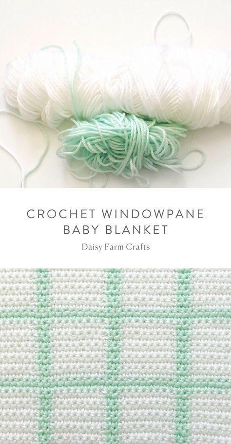 Free Pattern - Crochet Windowpane Baby Blanket   afghan ideas ...