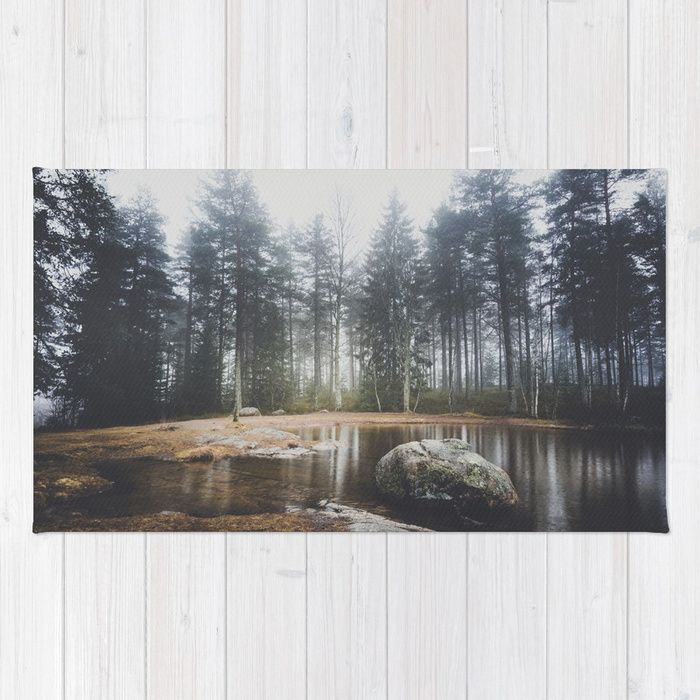 Moody mornings Rug by HappyMelvin. #nature #wanderlust #landscape #forest #homedecor #rugs