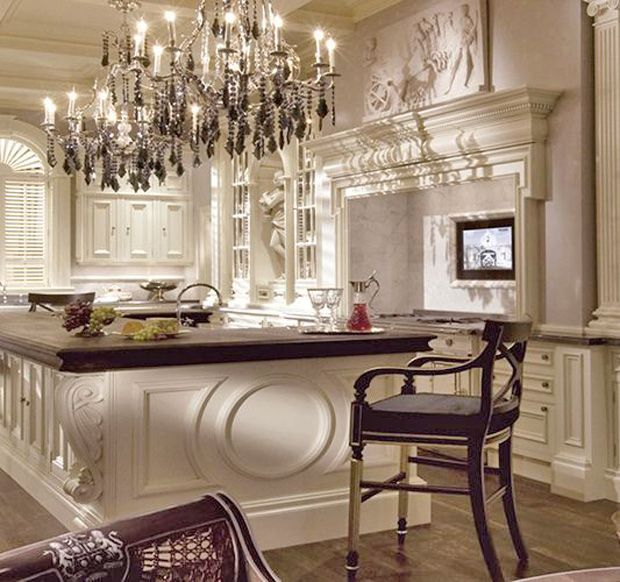 Clive Christian kitchen with enormous island, crystal chandelier.