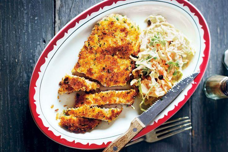 Try Matt Preston's homestyle version of chicken schnitzel and delicious fresh coleslaw.
