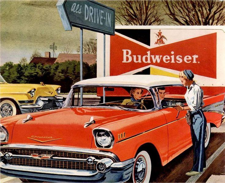 Budweiser / Hertz ad, 1957. http://www.ebay.com/itm/1957-Hertz-Rent-A-Car-Pretty-Hertz-Girl-May-I-Reserve-A-Car-For-You-ad-/361471305324 http://www.vintageadbrowser.com/cars-ads-1950s/54