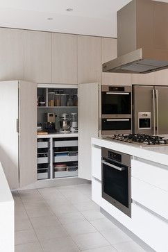 Pantry with bi-fold doors and heavy duty drawers instead of shelves