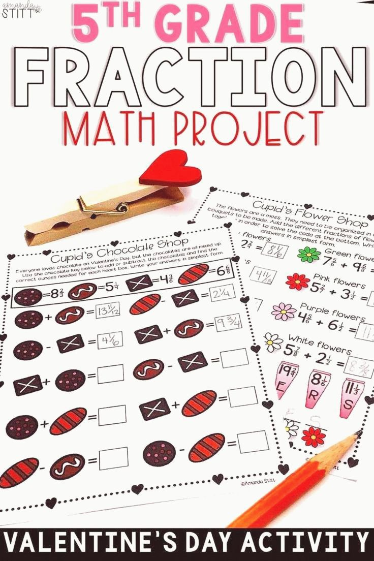 Valentines Day Math Fractions Digital and Print 5th Grade ...