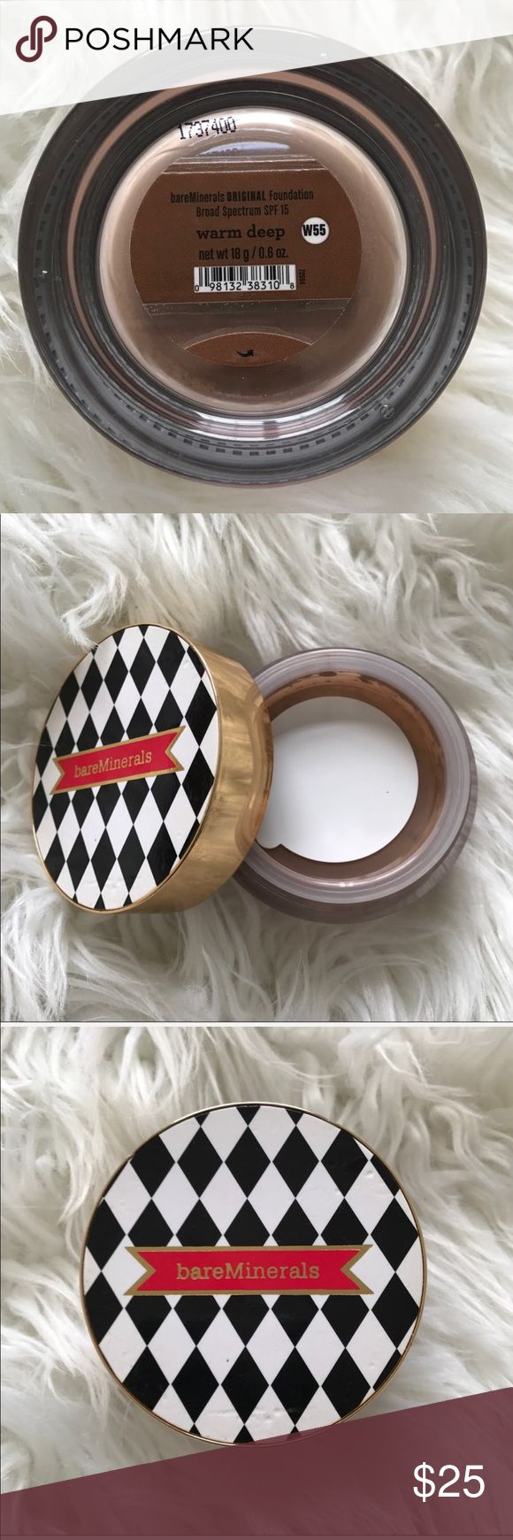 NEW Bare Minerals Deluxe Warm Deep Foundation Bare Minerals / Bare Escentuals / bareMinerals Collector's Edition Deluxe Original Mineral Loose Powder Foundation in shade Warm Deep . New & Sealed, no box. Deluxe 18g size. bareMinerals Makeup Foundation
