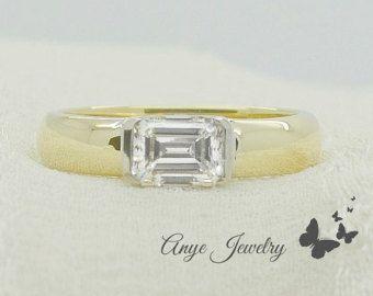 1.80 Ct. Horizontal Emerald Cut Diamond Engagement Ring on 14K