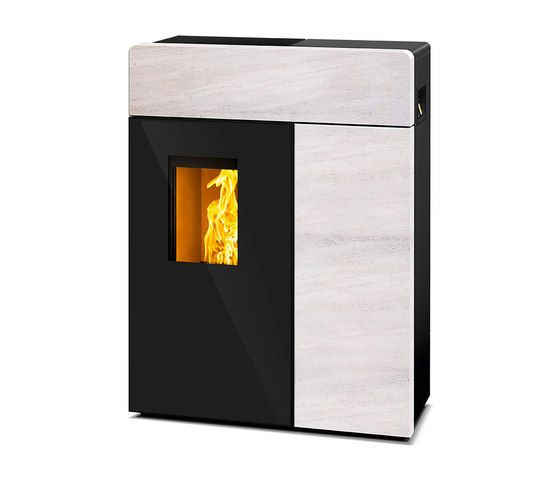 Domo | with white stone casing by Rika | Pellet burning stoves