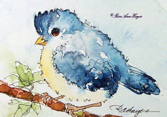 Baby Blue Bird Blue Jay Watercolor Print