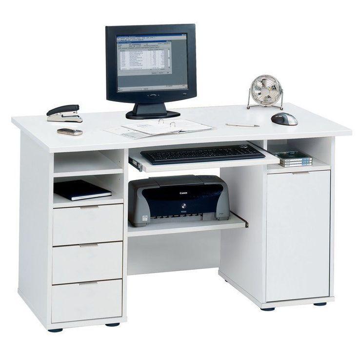 Computer Desk White Scratch Resistant Adjustable Shelves Office Furniture