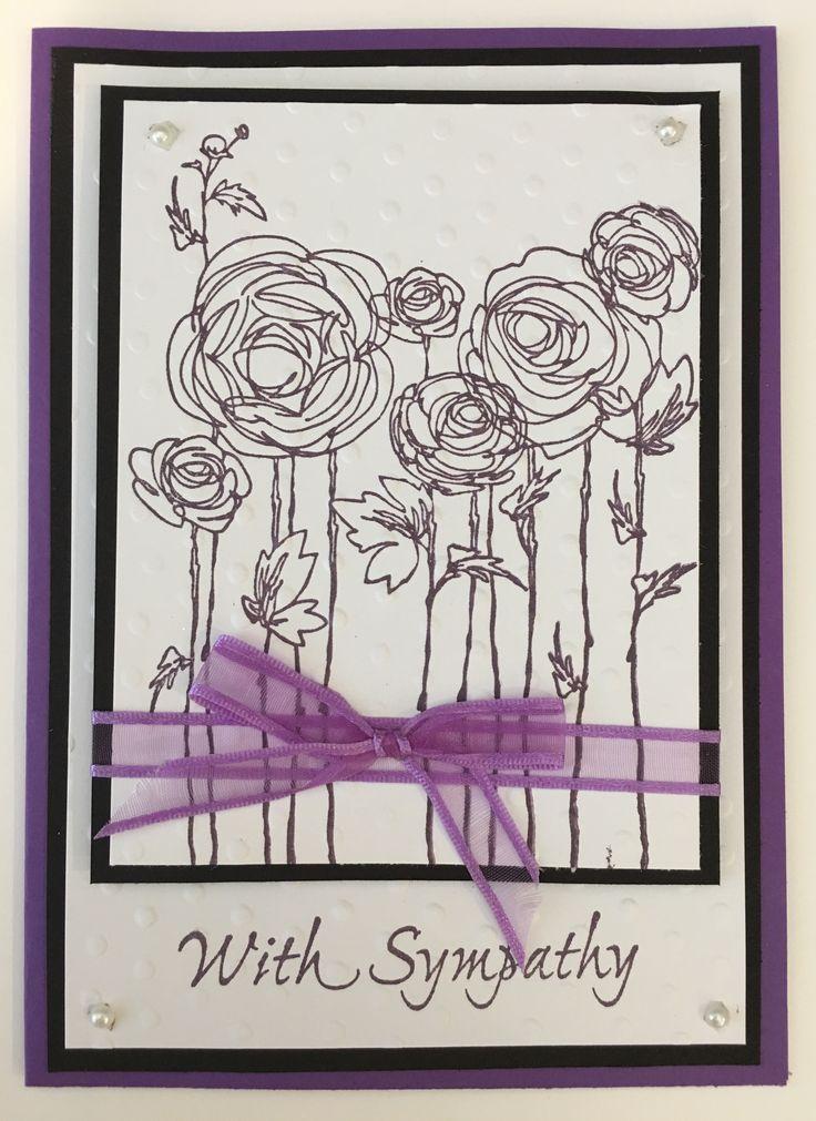 Cby handmade with sympathy greeting card using purple