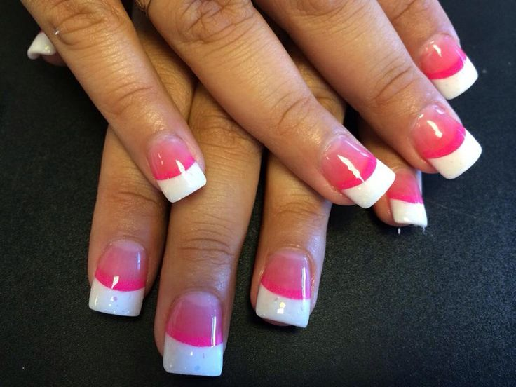 White Nail Beds Pink Tips
