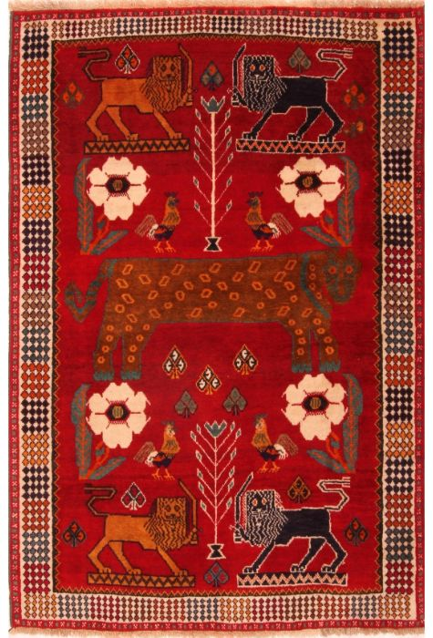 Gabbeh Persian rug. Wool. Hand Knotted. 127 x 160 http://www.rugman.com/persian-gabbeh-design-oriental-area-rug-small-size-wool-red-rectangle-253-24245