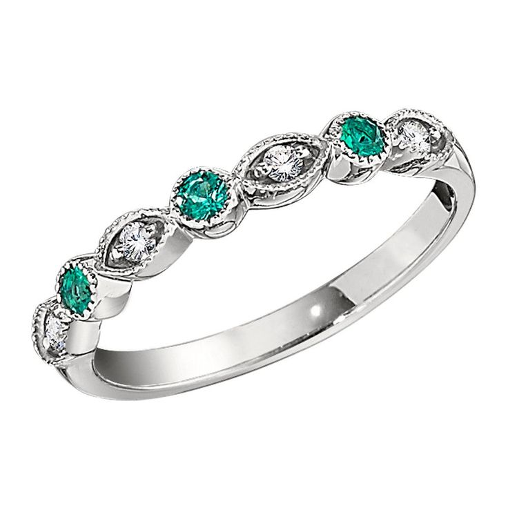 vintage style diamond and emerald wedding band with millgrain - Emerald Wedding Ring