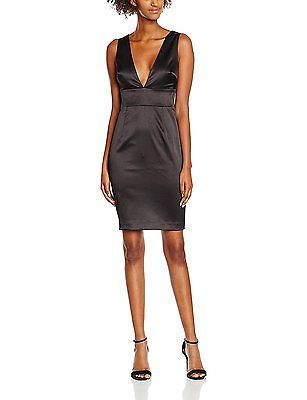 12, Black, New Look Women's Satin Deep Bodycon Dress NEW