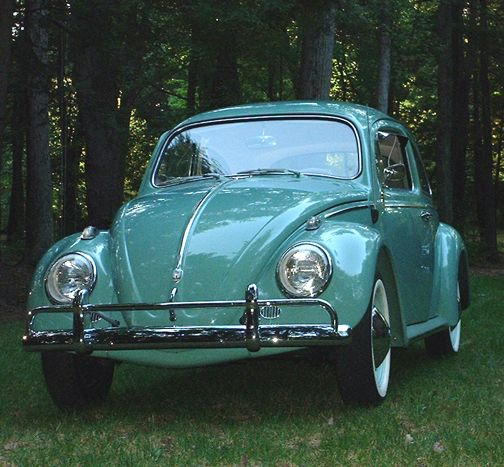 My first car - 1961 Beetle - this very color. Dad bought it for me in 1965 to drive to college.