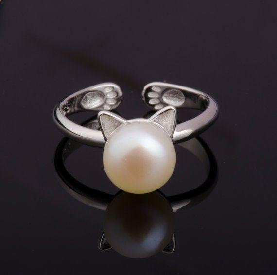 S925 Anillo de plata esterlina para gatos Anillo de perlas de agua dulce de SeaInSKy
