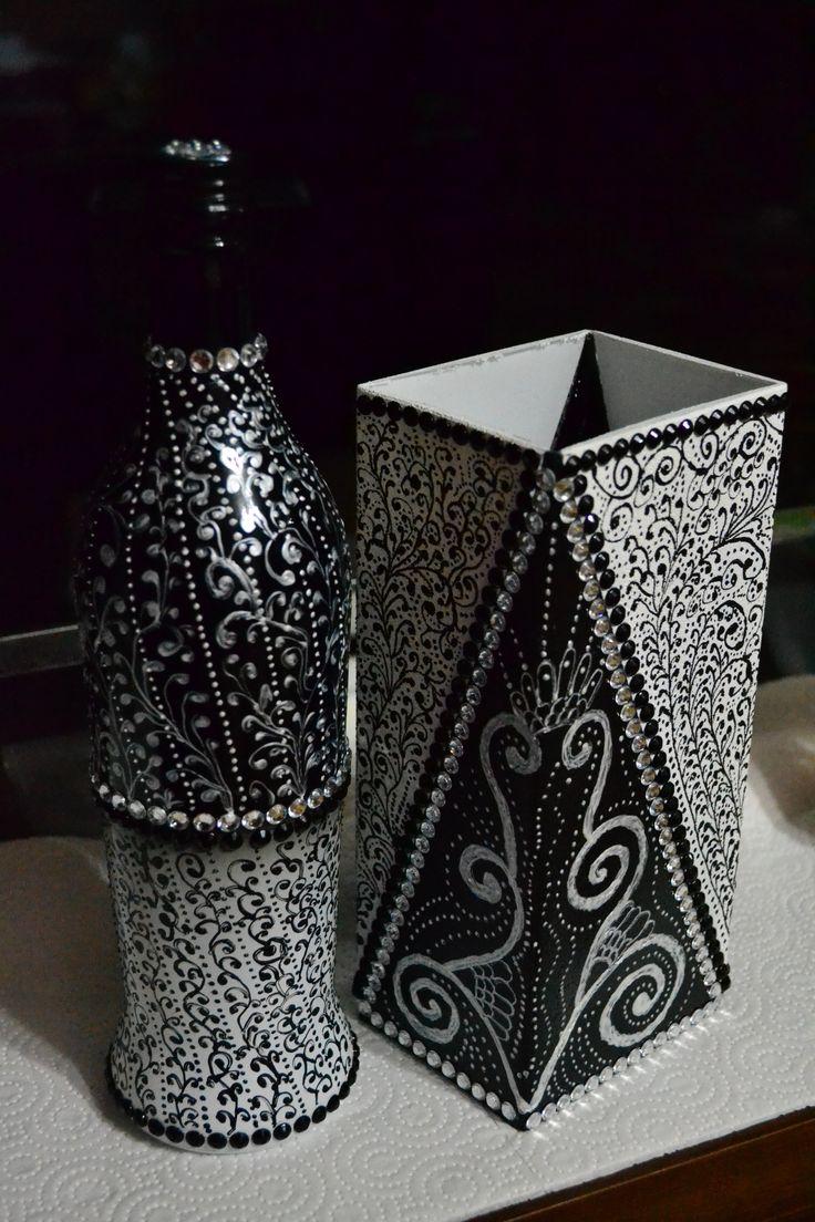 Bottle & vase together.