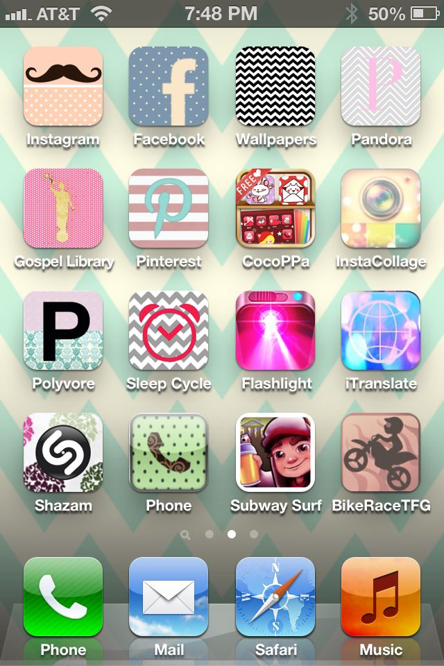 Awesome FREE app for the iPhone that allows you to create apps and wallpapers that are decorated short cuts to your original apps. It's soo cute and easy and now my screen is adorable. It's called: Cocoppa