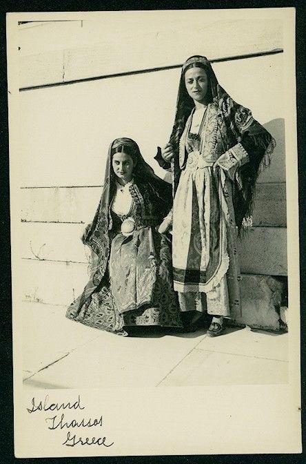 GREECE THASSOS ATHENS FOLK DRESSES VINTAGE POSCARD SIZE PHOTO 1937. www.ebay.com