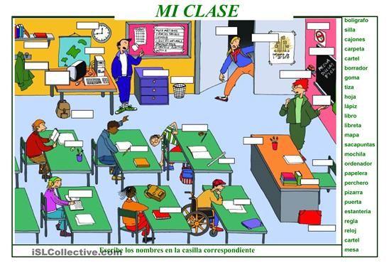 Hoja de trabajo para practicar /revisar el léxico de los objetos del aula. - Trabajos ELE
